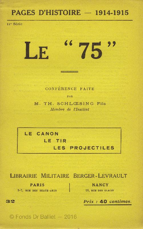 """Le """"75"""". confrénce faite par Th. Schloessing [1915]"""